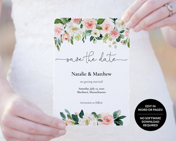 Floral Pink White Save The Date Template Customizable Printable Wedding Save The Date Edit In Word Or Pages
