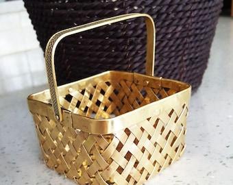 Wicker brass Basket, Vintage Brass, Swing Handle Wicker Basket, Brass  basket, vintage  decor, brass  decor, square  shape, INDIA
