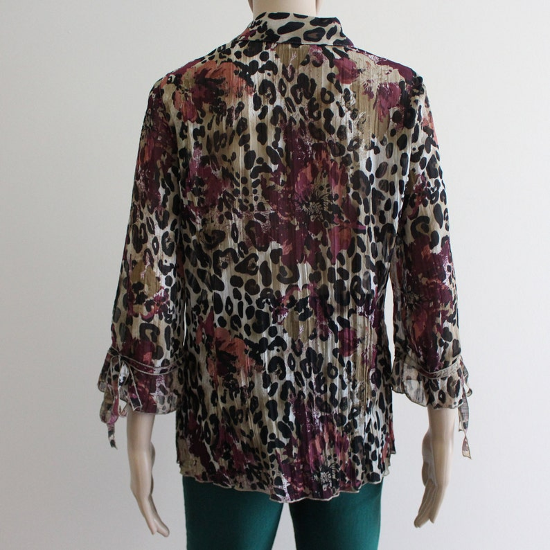 Leopard Print Blouse Womens Sheer Blouse Mixed Animal Print Floral Print Blouse See Through Crinkled Top Collared 34 Bell Sleeves Button Up