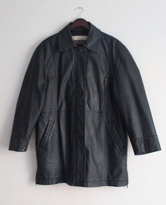 Black Leather Coat Vintage 90s Oversized Leather J