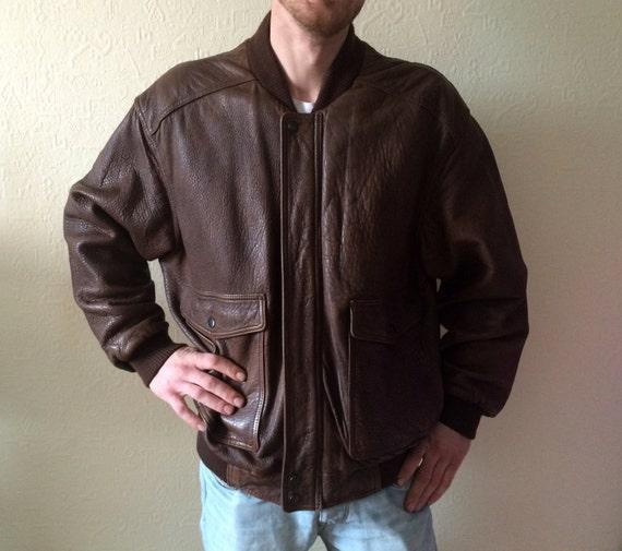Vintage Leather Jacket Men's Leather Jacket Brown