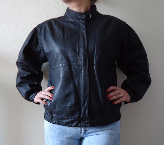 Vintage 80s Leather Bomber Jacket Black Leather Jacket Womens Etsy