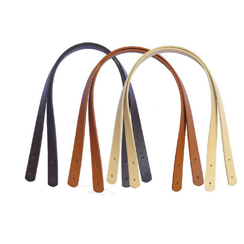 """1 pair//2 pcs Faux Leather Bag Handles Purse Straps Handbag Straps 25/"""" w// Rivets"""