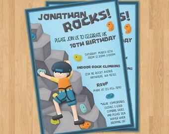 Boys Rock Climbing Party Invite Wall Birthday Invitation