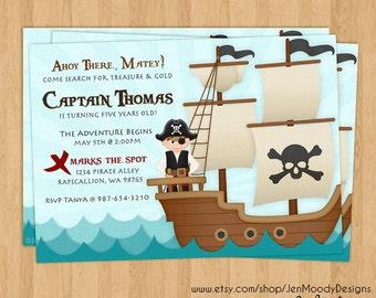 Boy's Pirate Buccaneer Birthday Invitation, Ahoy Matey Party Invite - Printable, Digital, Ocean Waves, Pirate, Ship, Treasure Hunt, Captain