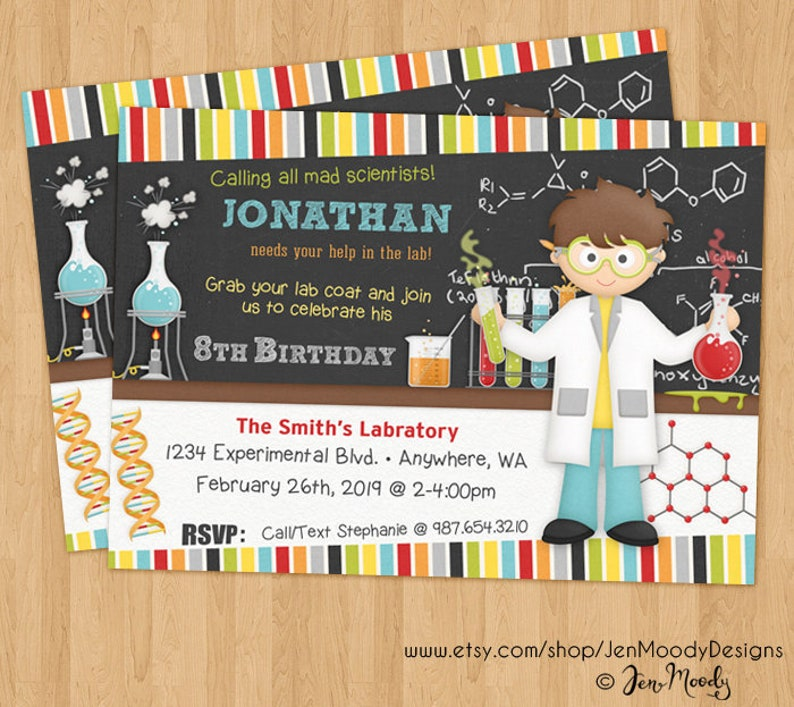 Boy S Mad Science Birthday Invitation Chemistry Scientist Etsy