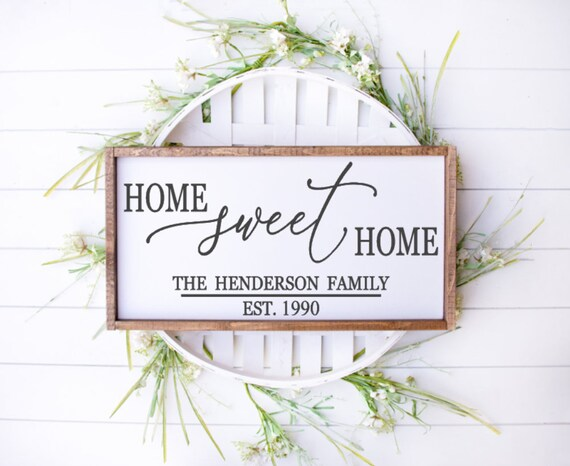last name sign Home sweet home wedding gift farmhouse decor family name custom sign personalized gifts gift ideas