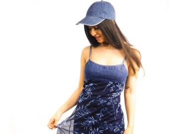 90s Denim Flower Dress Size 3 (Small)