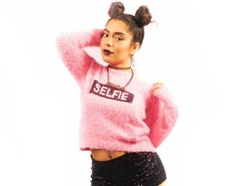 80's Pink Fuzzy Selfie Sweater Size XL
