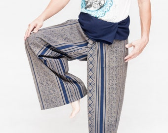 0ee35952ad593 Extra Long Thai Fisherman Pants Wrap Around Fold Over Waist Relaxed Loose  Fit Pajamas Blue Tribal Diamond Motif Stripe Design