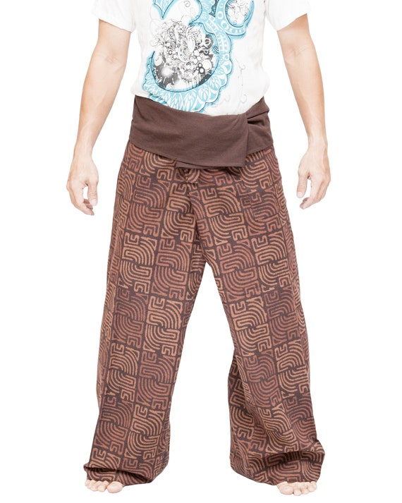 01dbc9420db Brown Tribal Blocks Wrap Around Fold Over Waist Relaxed Loose Fit Yoga  Trousers High Quality Thai Fisherman Pants