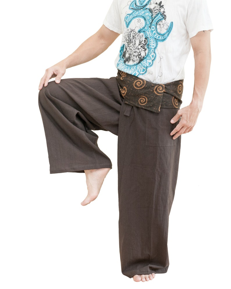62c4a639be3 Dark Brown Plain Thai Fisherman Pants Relaxed Low Crotch Cut Ancient Tribal  Spiral Fold Over Waist