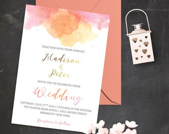 Blush Pink and Gold Wedding Invitations Printable Wedding Invitation Set Watercolor Wedding Invite Pink Watercolor Wedding Invitation Suite