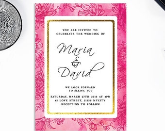 Pink and Gold Wedding Invitations Pink Wedding Invitation Set Custom Calligraphy Wedding Invitation Suite Elegant Wedding Invitations