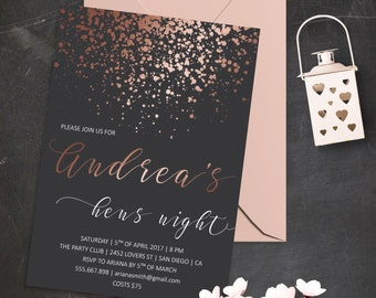 Rose Gold Bridal Shower Invitation Printable Bridal Shower Invite Hens Night Invitation Bachelorette Party Invitation Glitter Invitations