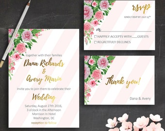 Modern Wedding Invitation Printable Pink Roses Wedding Invitation Suite Blush Pink Wedding Invitations Pink & Gold Wedding Invite Printable