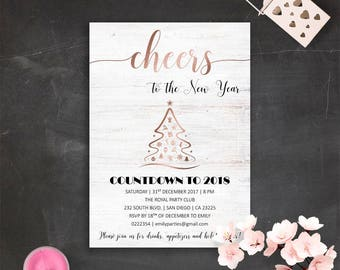 printable rose gold new years party invite elegant winter invitations cheers to new year rose gold faux foil corporate holiday party cards