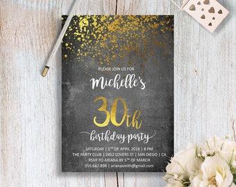 30. Geburtstagseinladung Druckbare 30. Geburtstag Einladen 21.  Geburtstagseinladungen 18. Geburtstag Gold Geburtstag Einladung Digitale PDF  Lädt