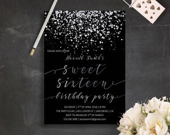 Black And Silver Party Invitations