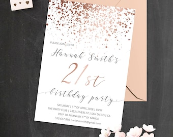 Elegant Birthday Invitations Rose Gold 21st Confetti Invite 50th Invitation For Women 30th Invites Her
