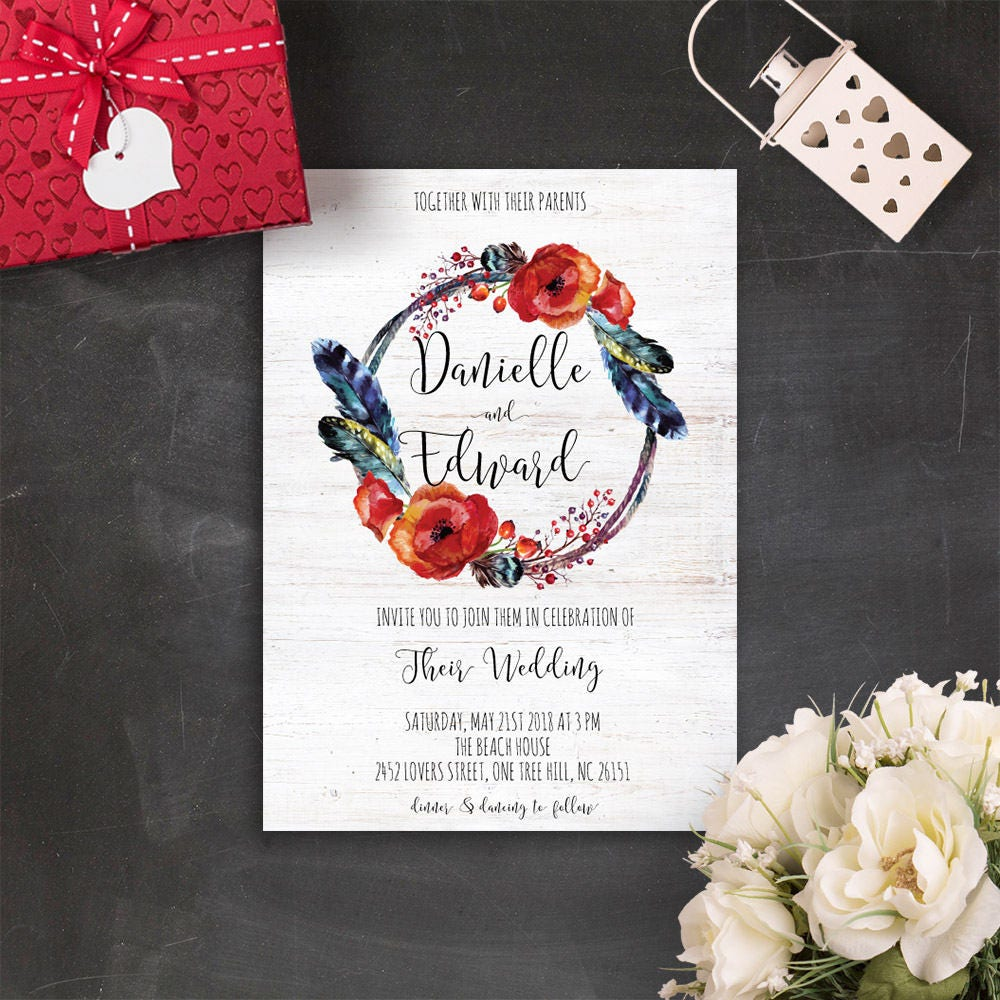 Hippie Wedding Invitation Printable Feather Wedding