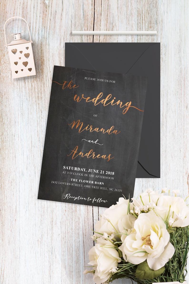 Wedding Set Chalk Minimalist Invites Copper Wedding Invitation Kit PDF Printable Rose Gold and Black Elegant Wedding Suite