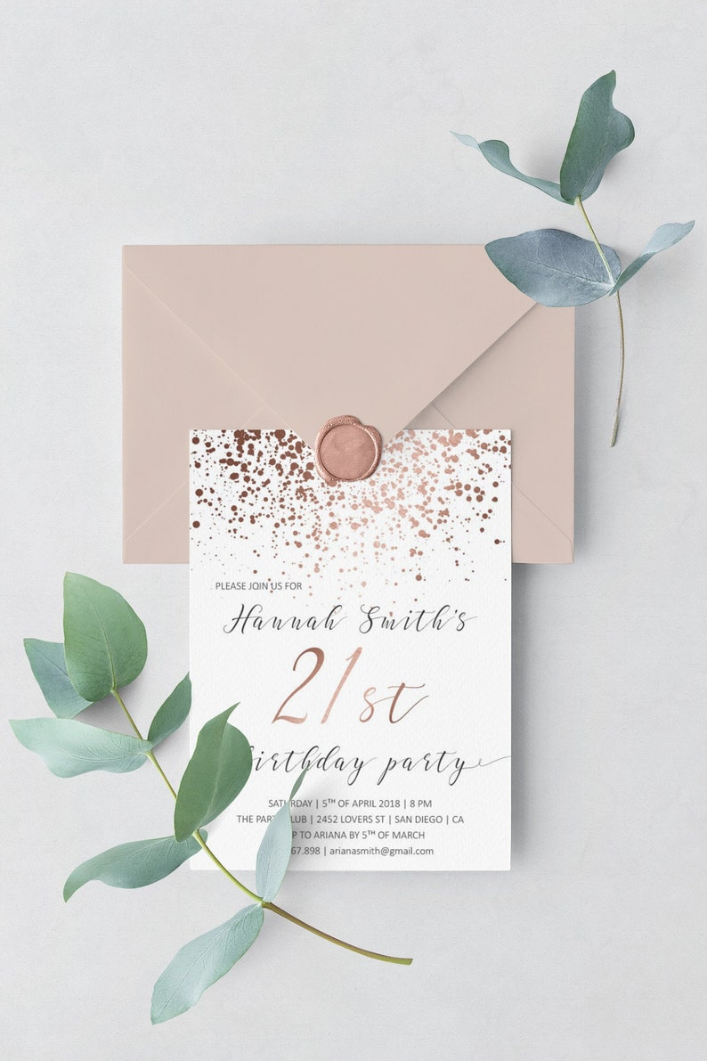Elegant Birthday Invitations Rose Gold 21st