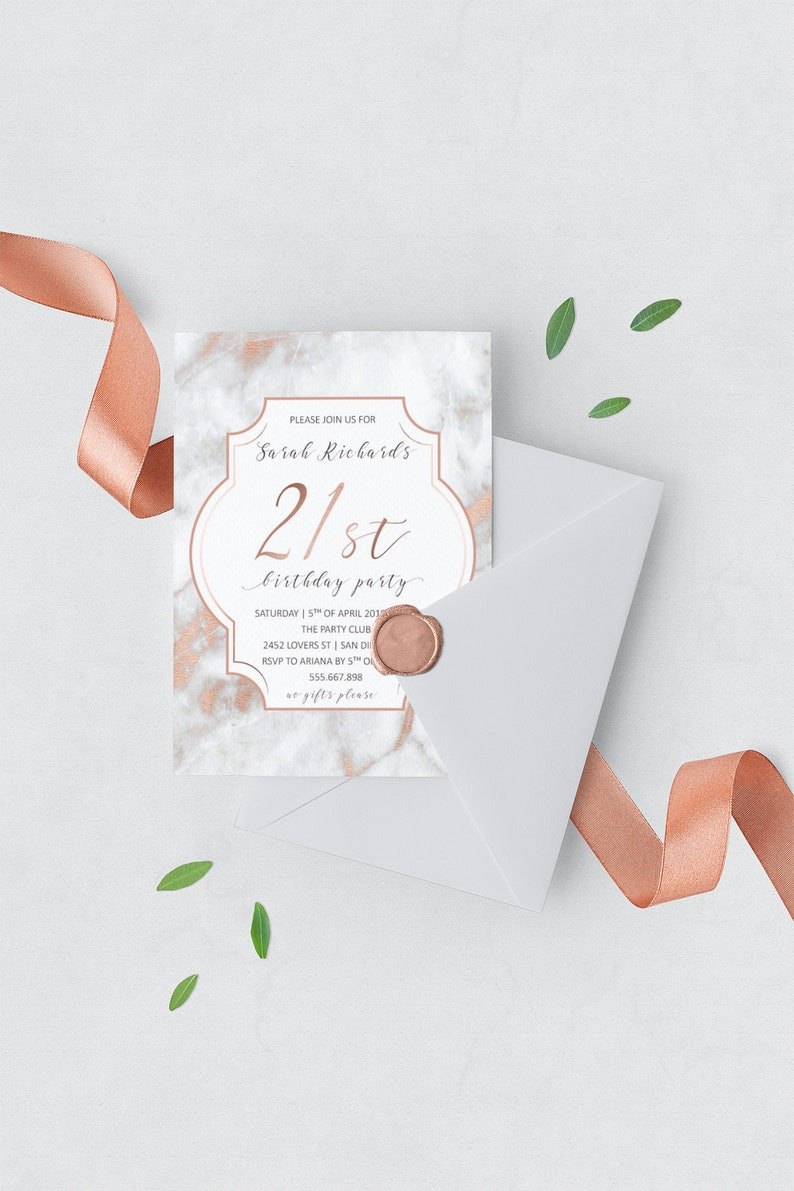 Elegant 21st Birthday Invitations Rose Gold Marble Invite 30th Invitation For Her
