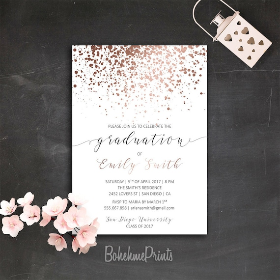 rose gold graduation party invitation printable college grad etsy