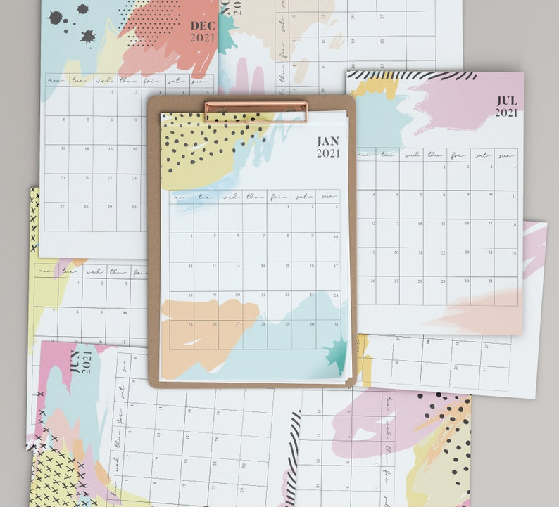 2021 Colorful Calendar Planner  Instant Download Monthly image 0