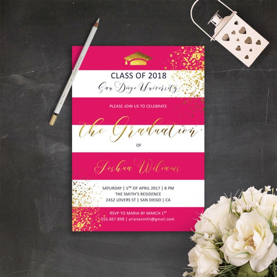 pink graduation invitation printable pink and gold grad party etsy