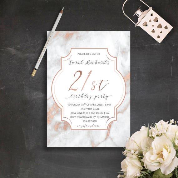 21st Birthday Invitations Rose Gold Invite Elegant Marble Invites 30th Invitation For Her