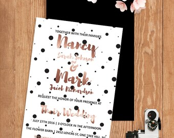 Polka Dot Wedding Invitation Printable Wedding Invites Rose Gold Wedding Invite Simple Wedding Invitation Set Black and White Wedding Invite