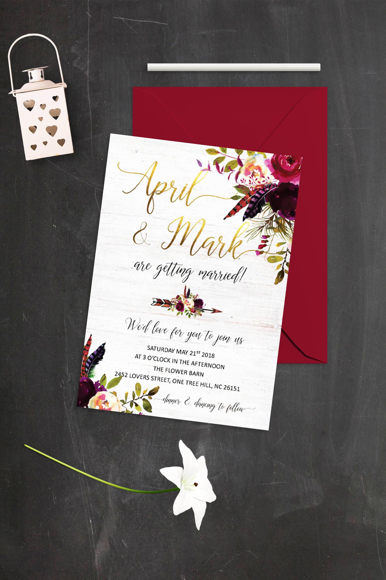 Floral Wedding Invitation Burgundy and Gold Wedding   Etsy