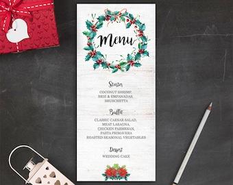Printable Christmas Menu Card Winter Wedding Menu Cards Digital File Christmas Party Dinner Menu New Years Eve Menu Christmas Wedding Decor
