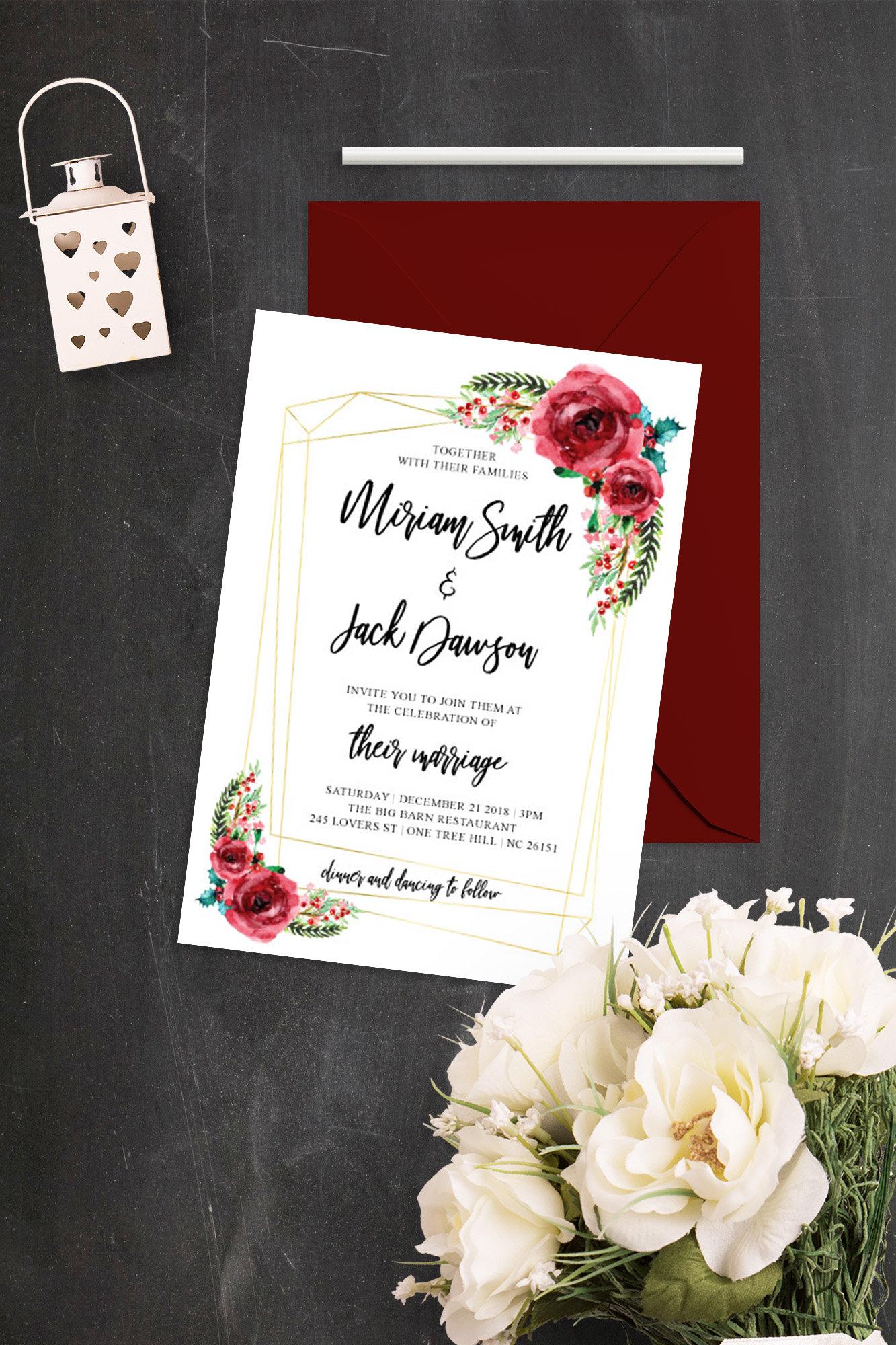 Winter Floral Wedding Invitation Christmas Flowers Geometric | Etsy