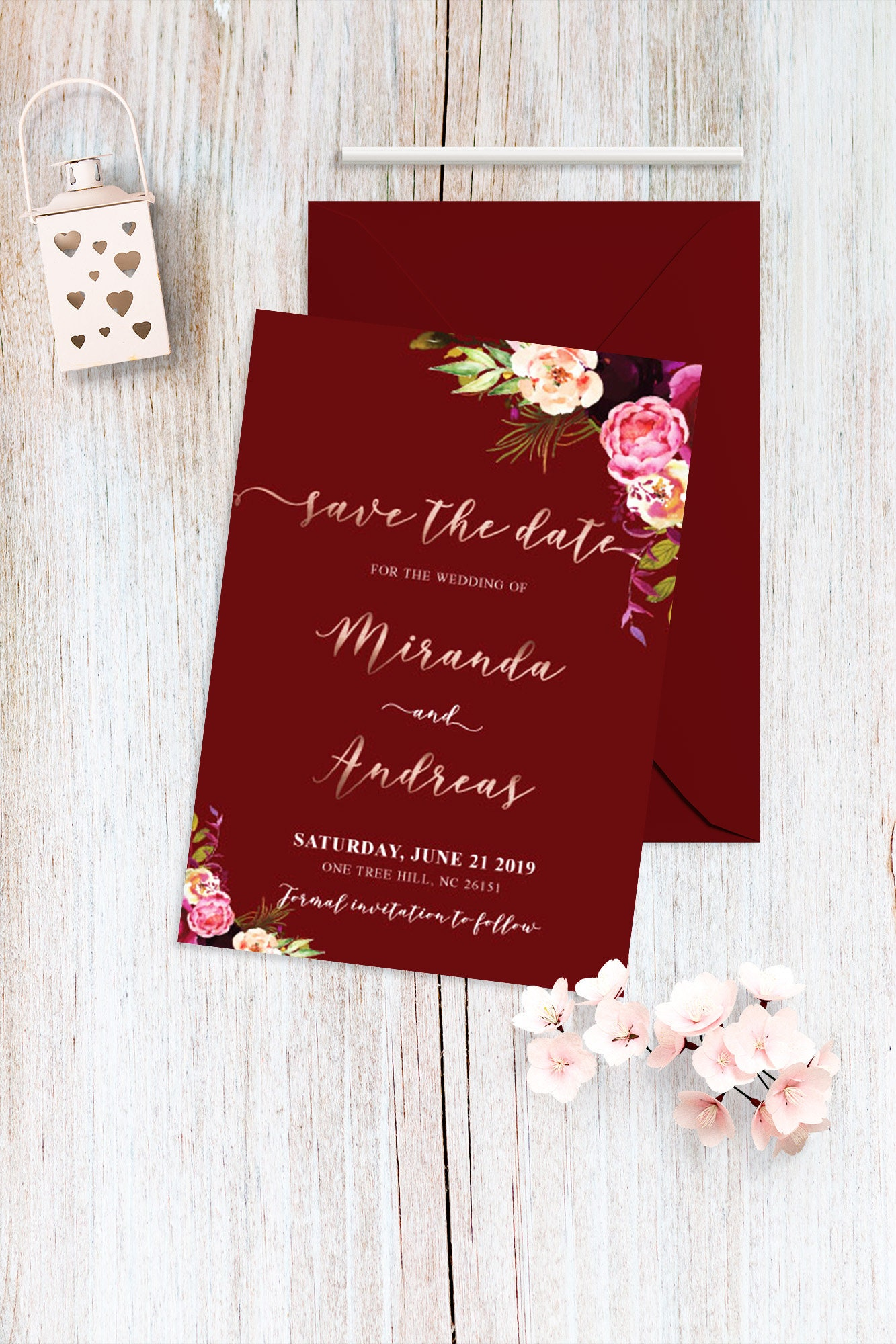 Personalized Save the Date Burgundy and Rose Gold Wedding Save | Etsy