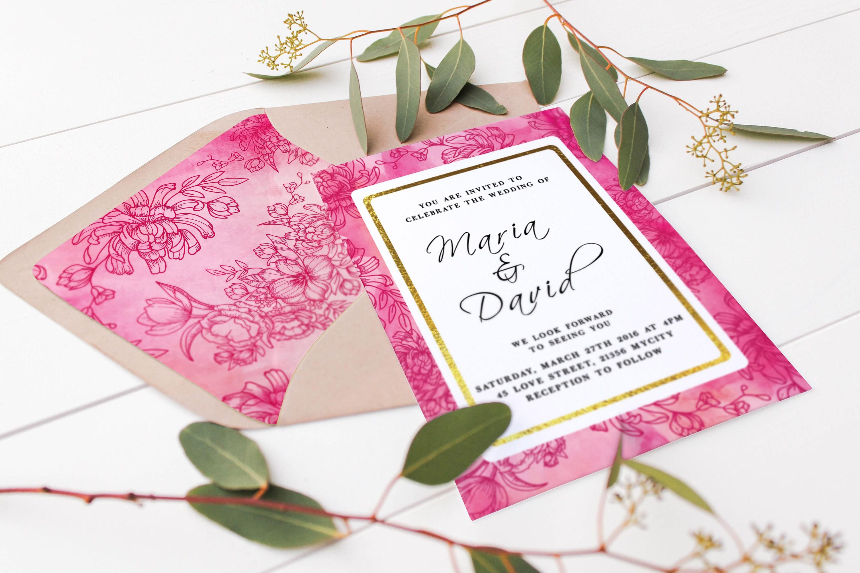 A7 Envelope Liner Template Printable Envelope Liners Pink Etsy