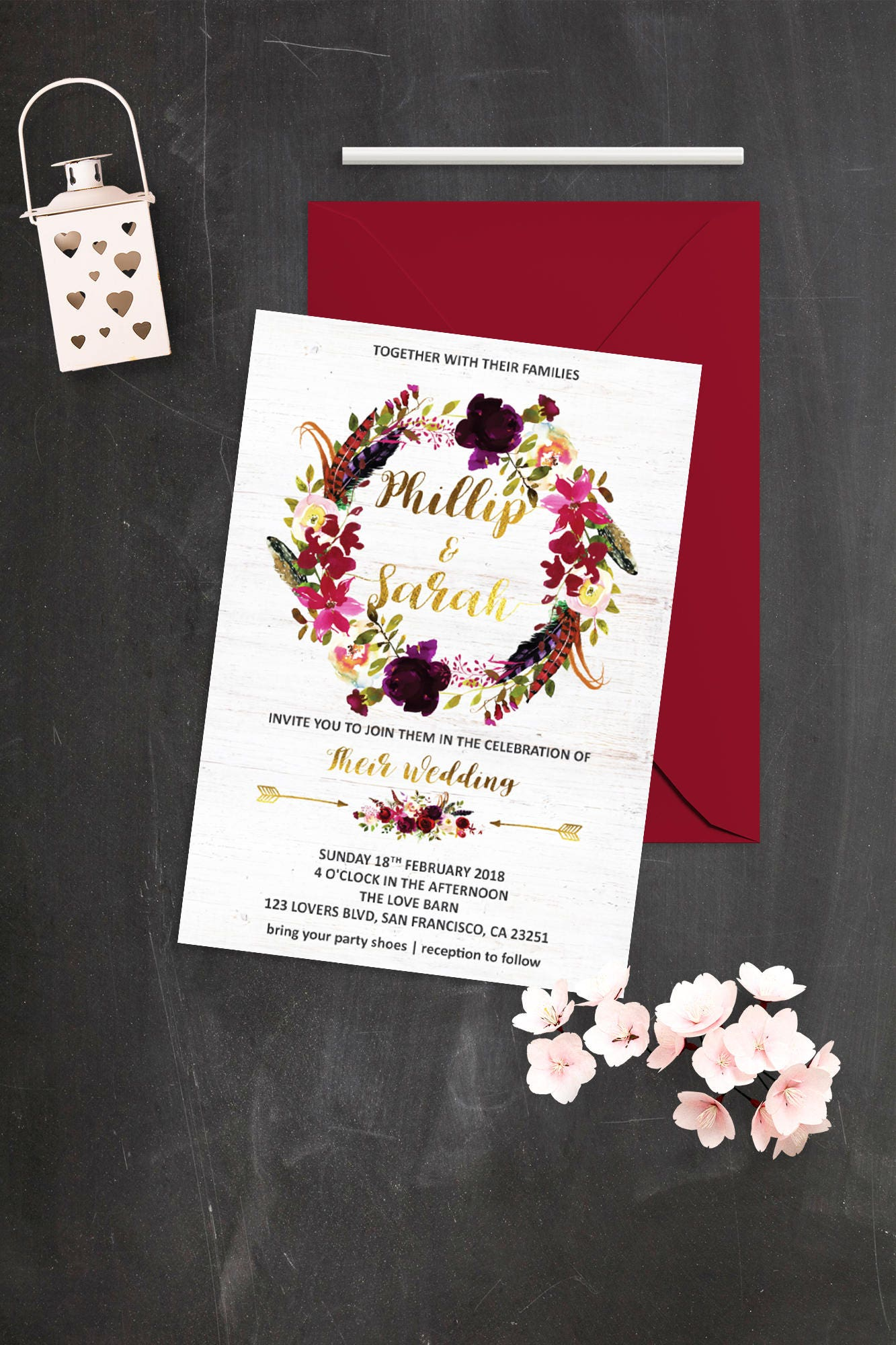 Marsala Wedding Invitation Burgundy Boho Wedding Invite | Etsy