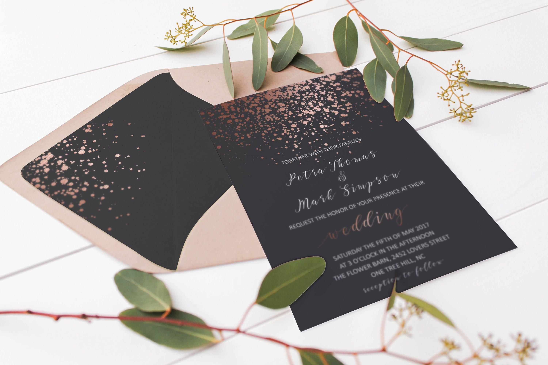 Rose Gold Glitter Wedding Envelope Liner Printable Rose Gold