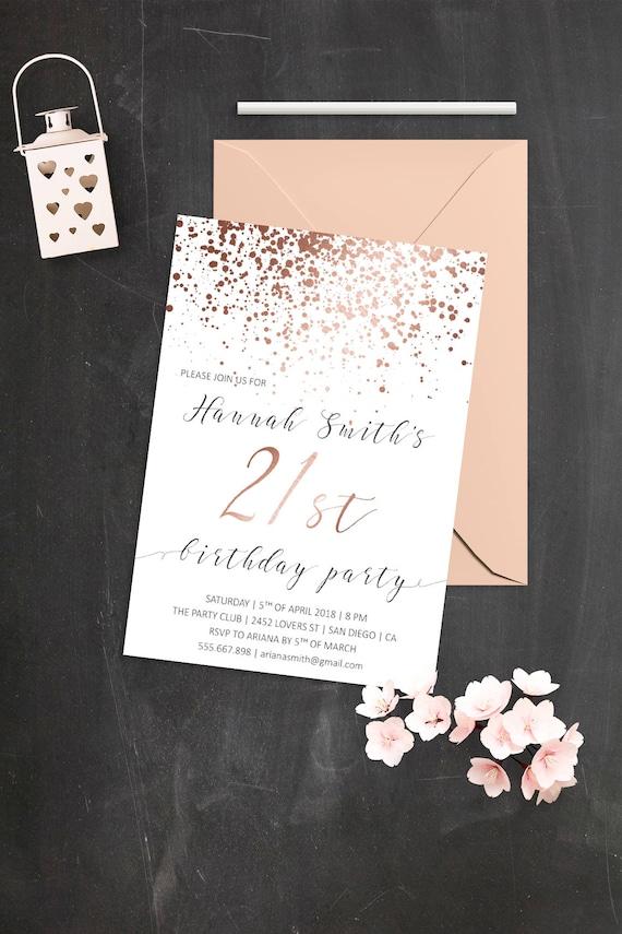 Elegant Birthday Invitations Rose Gold 21st
