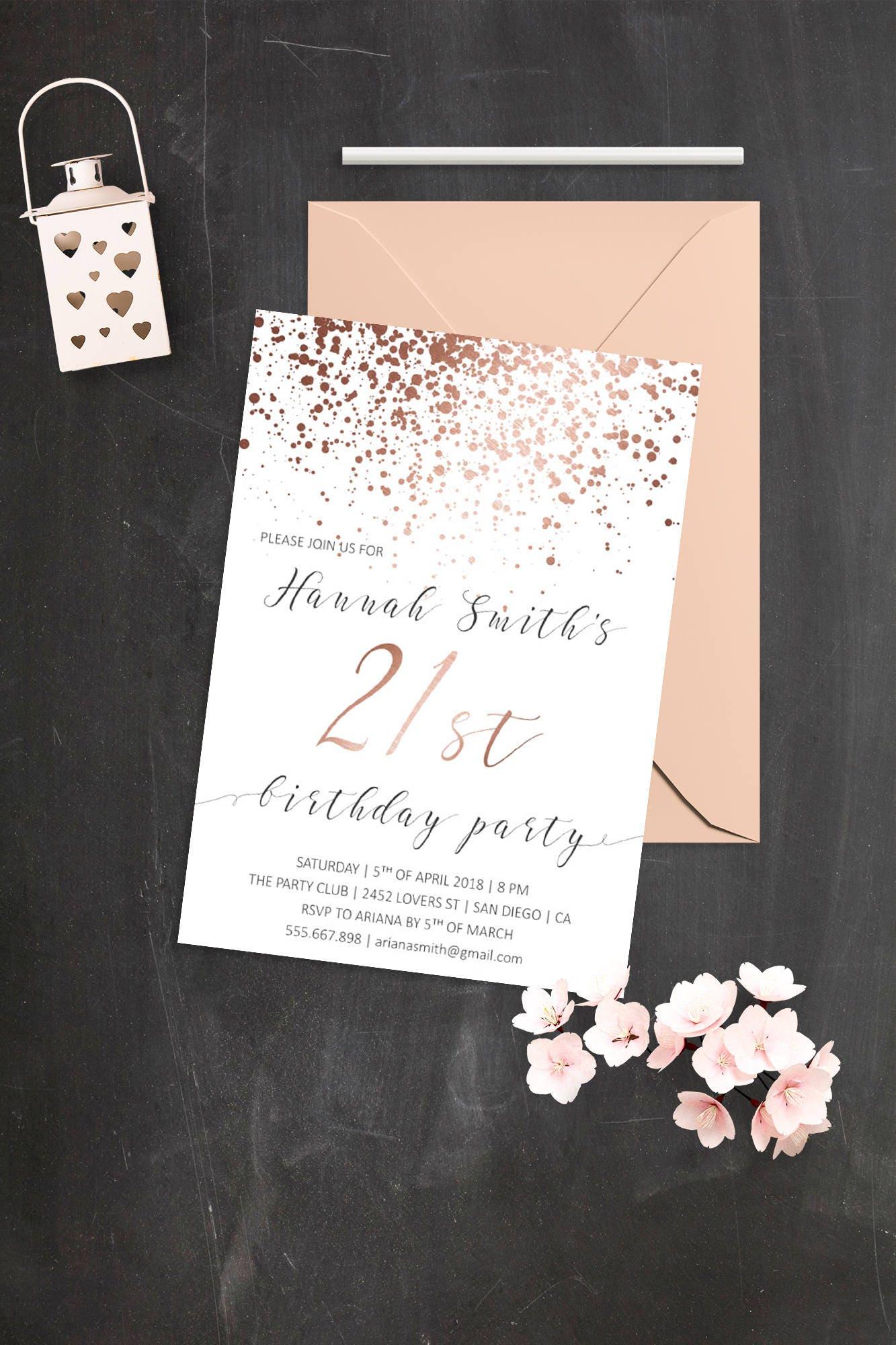 Elegant Birthday Invitations Rose Gold 21st Birthday Rose Gold | Etsy