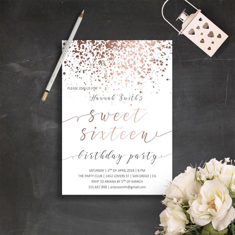 Rose Gold Teen Birthday Invitations 16th Birthday Invitation | Etsy