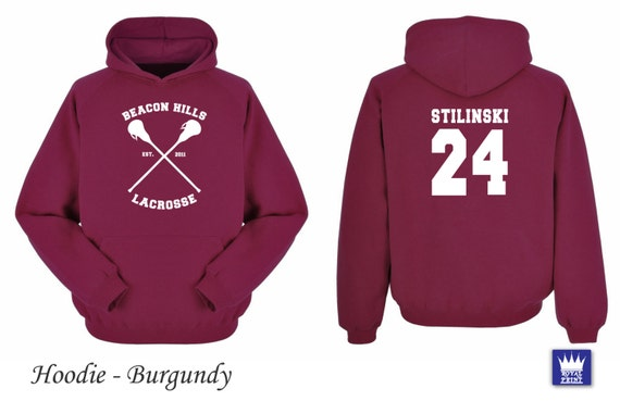 Teenwolf Hoodie Burgundy Stiles Stilinski Lacrosse Logo Hills Beacon Wolf EHI9W2DY