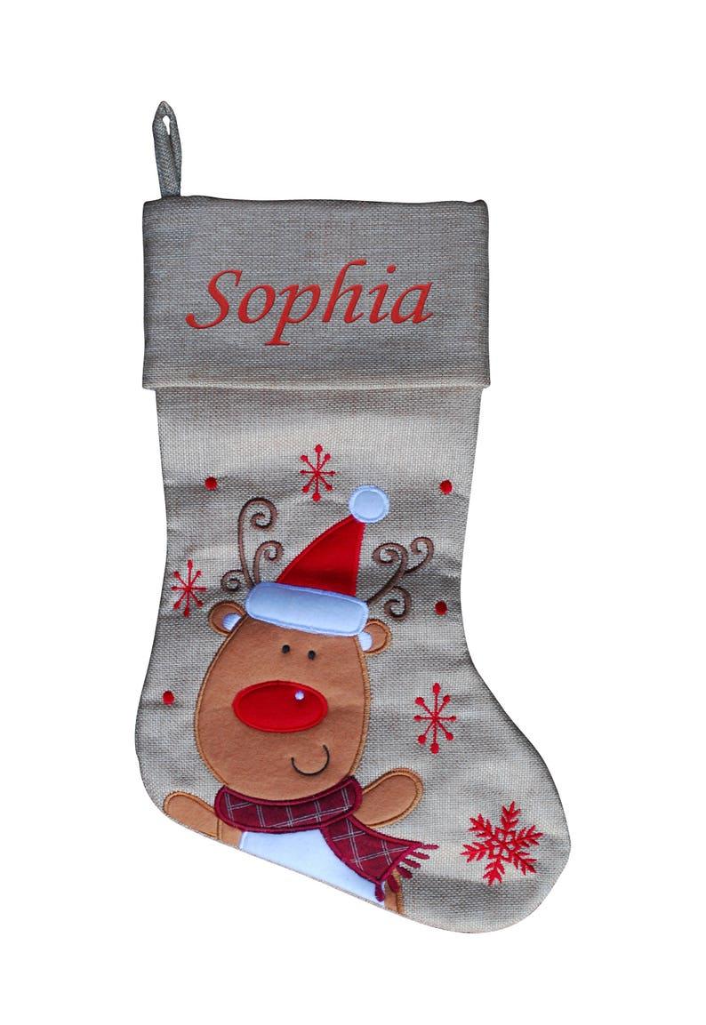 Personalised Christmas Stocking Kids Luxury Embroidered Xmas Stockings Sack Boy Girl Santa 2018 Fully Lined Hessian Reindeer
