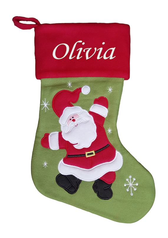 Personalised Christmas Stocking Santa Face with Embroidered Name on Hat