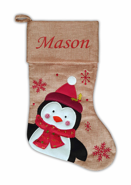 Personalised Christmas Stocking Kids Luxury Embroidered Xmas Stockings Sack Boy Girl Santa 2018 Fully Lined Hessian Penguin