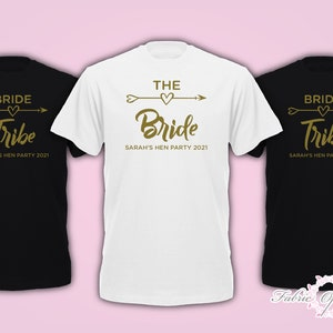 Personalised Hen Do Bride Tribe T-Shirt Hen Bachelorette Party 2020 Ladies Top