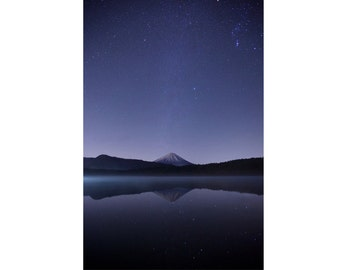 Starry Sky - Mountain - Stars Photo - Stars Photography - Water Reflection - Vertical - Digital Photo - Digital Download - Bedroom Decor