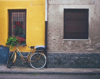 Bicycle - Bicycle Photo - Urban - Building - Building Photo - Yellow - Urban Photo - Digital Photo - Instant Download - Living Room Decor